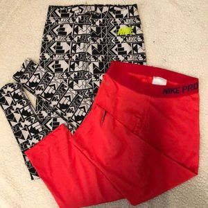 Two pairs of size XS nike athletic leggings